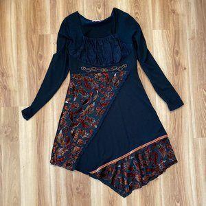 Joe Brown Patterned Asymmetric Midi Dress Sz Med